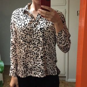 Abstract leopard print/ polka dot button up